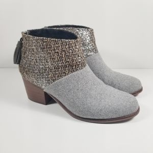 Toms Leila Gray Silver Metallic Ankle Boots